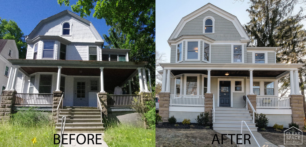Here's the before and after of 114 Prospect Place in South Orange, NJ.  We enclosed the side porch to create a family room and much needed square footage on the first floor.  We also enclosed the second floor open air sleeping porch into a luxurious master bath with walk-in shower and walk-in closet.