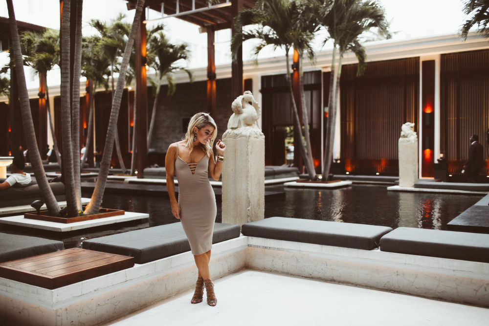 Loved this neutral look for a night of fashion shows at the Setai Miami Beach Hotel!