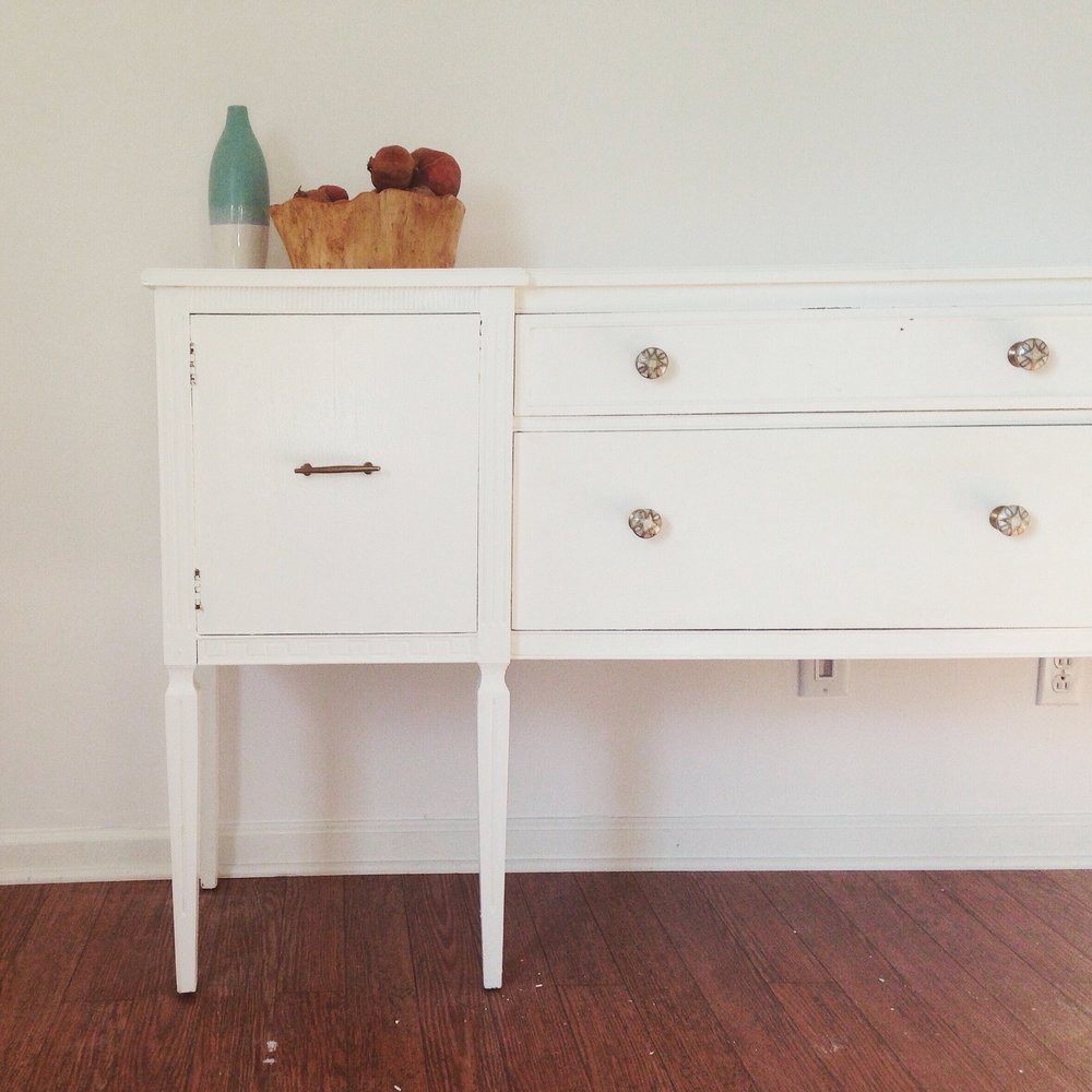 Updated and painted sideboard for dining room