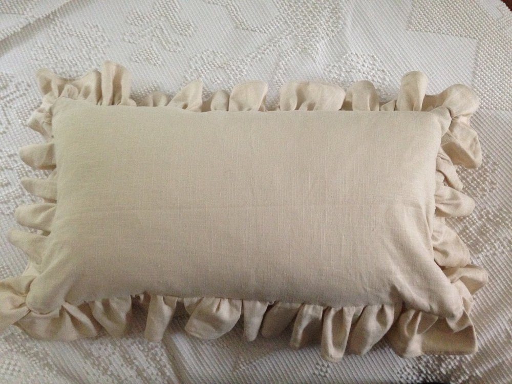 Sewn ruffled lumbar pillow