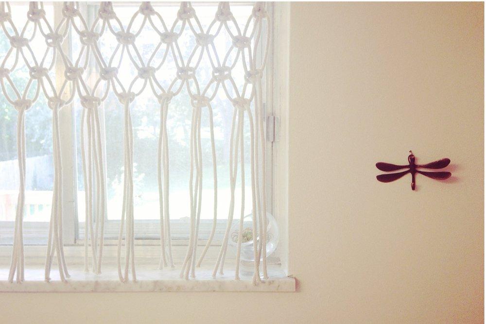 Macrame bathroom curtain