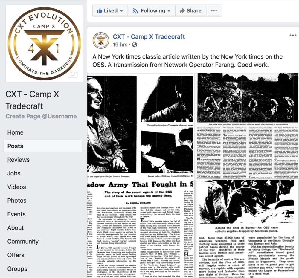 "CAMP X related history articles and features… - Internationally a network of CXT students and enthusiasts send articles an features related to Camp X… the BSC, SOE, OSS, ""Camp X Cousins"" and many others areas of related subject matter…."
