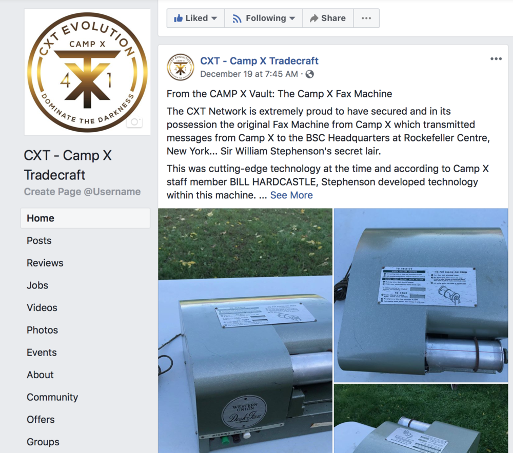 CAMP X Artifacts… - CXT has in its secret vault a major collection of CAMP artifacts and the community who has them. Features are posted regularly on these amazing items from STS #103.