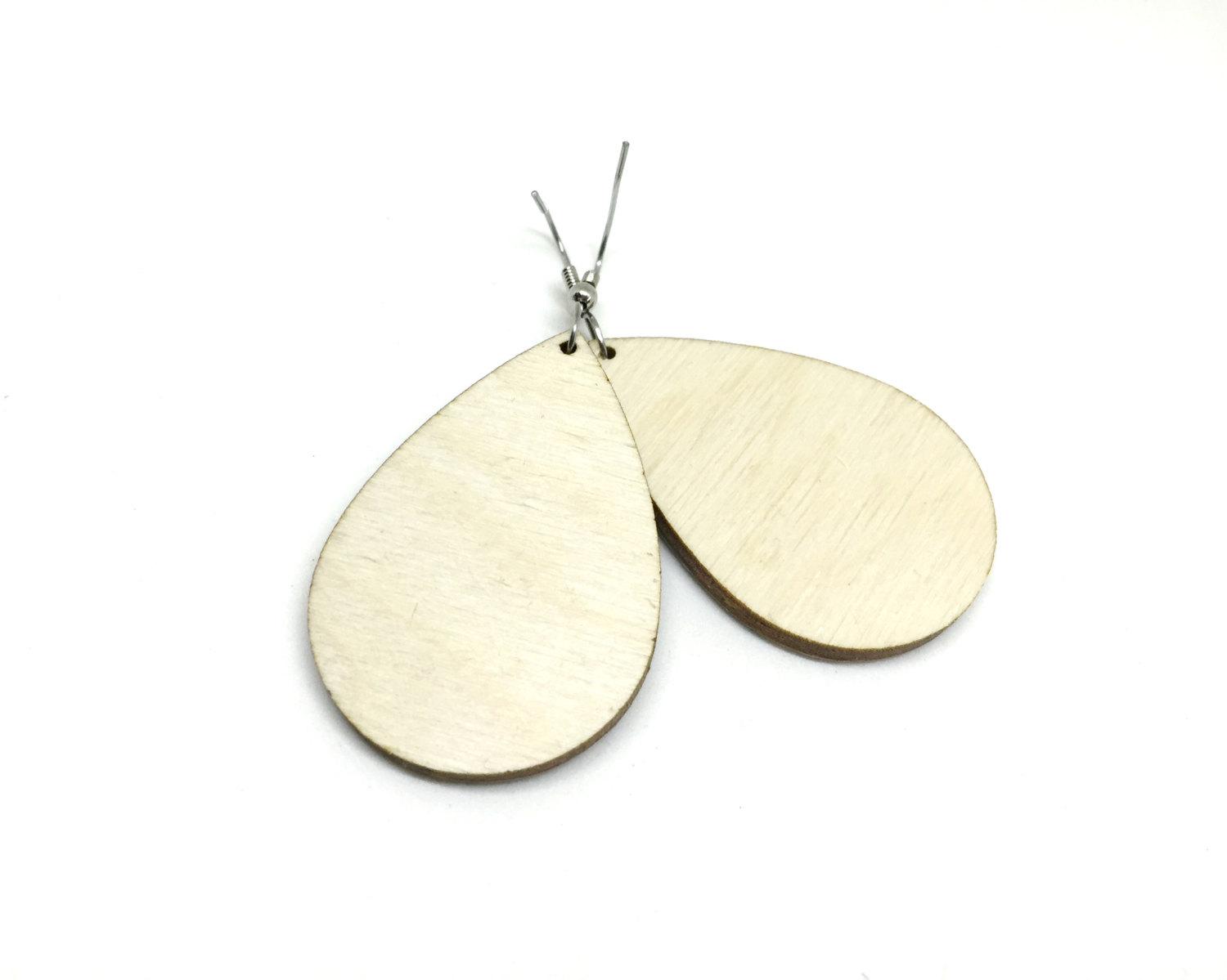 Tear Drop Earrings, White and Blue, Cherry Blossoms, Japanese Chiyogami  Paper, Wood, Lightweight, Laser cut, Resin coated, Pattern varies