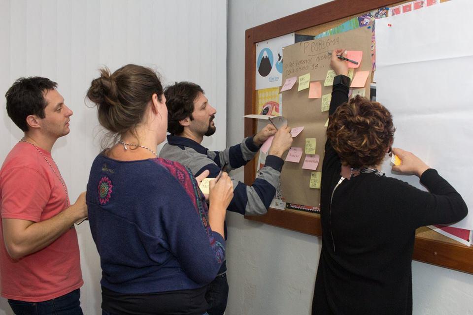 Dinâmica de pensamento criativo para solução de problemas.
