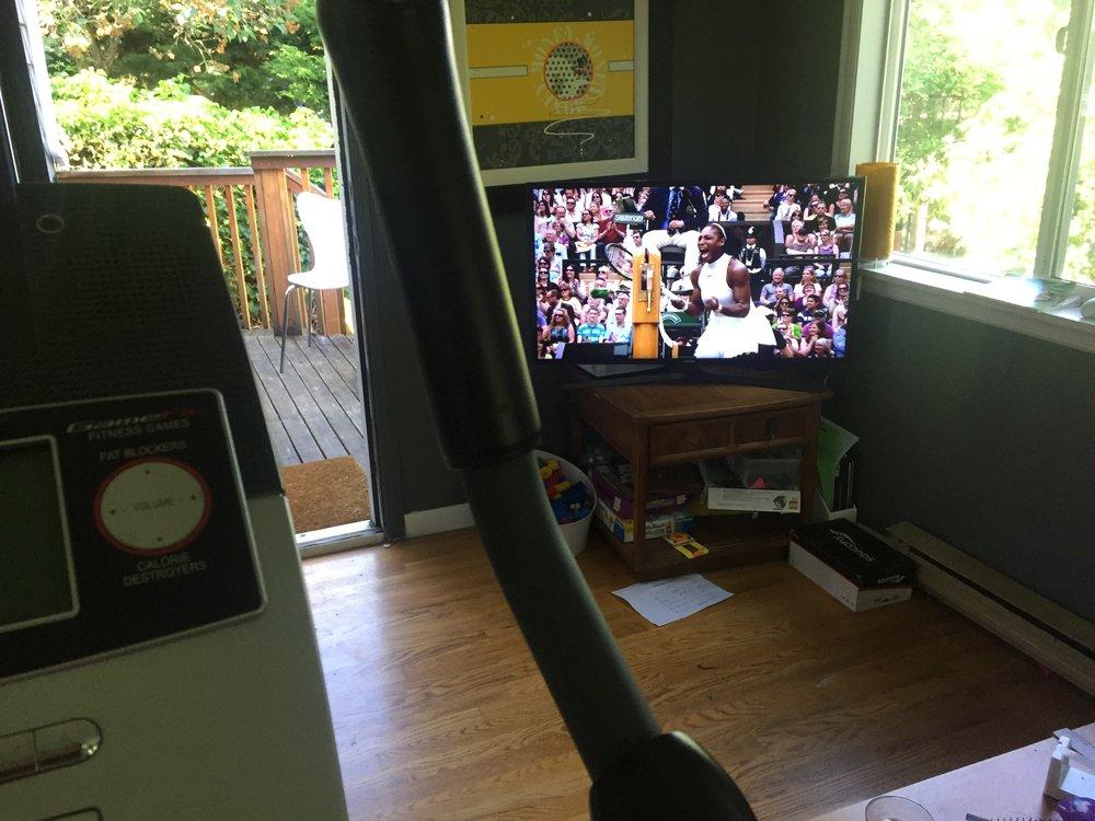 On my bike, watching Being Serena #motivation