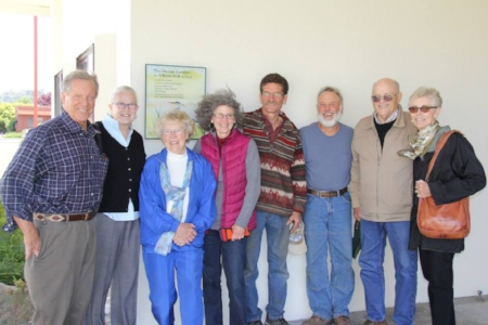 some of the volunteers WHO worked on the room and the heron garden.    FROM LEFT TO RIGHT:  NICK YOST, SANDRA RENNIE, NORMA HOLMES, GIN KREMEN, BILL POPOW, JAMES BENEDETTO, GRAHAM AND JOYCE GILBERTSON