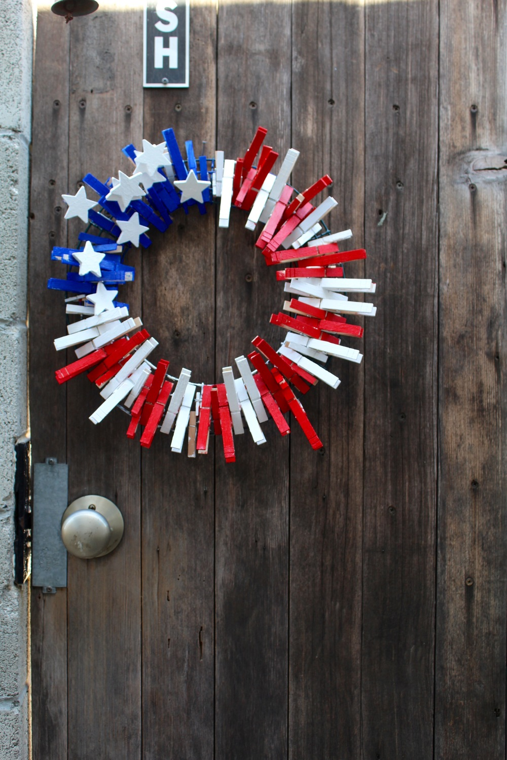 The Rustic Wreath on the Rustic Door.