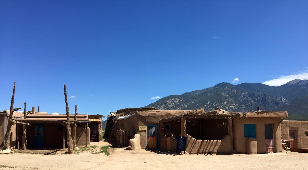 Detached houses in historic Taos Pueblo