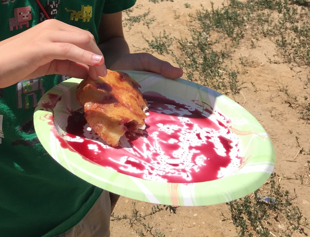 Fry bread with chokecherry syrup