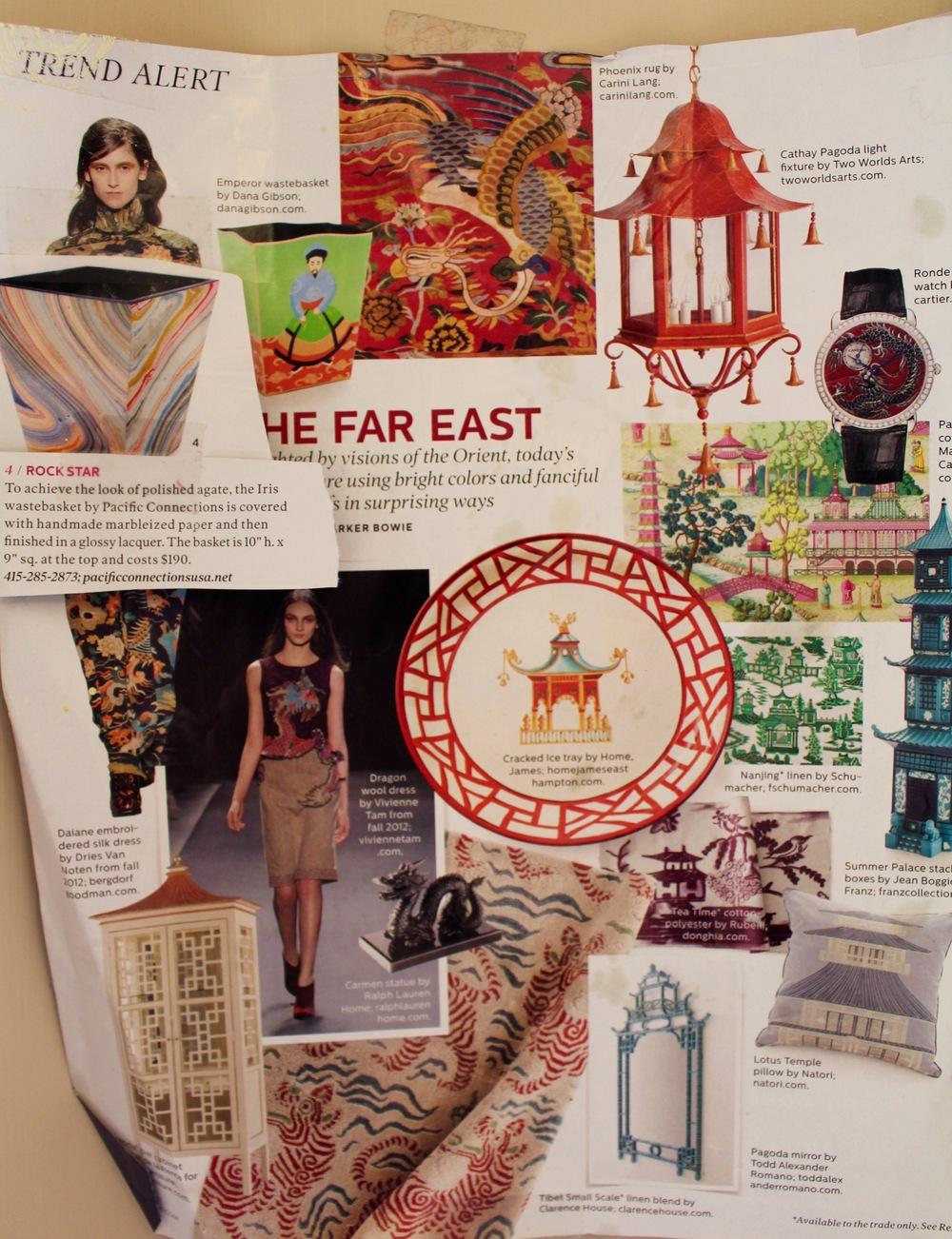 Chinoiserie inspiration page I tore out of Elle Decor years ago, just in case.