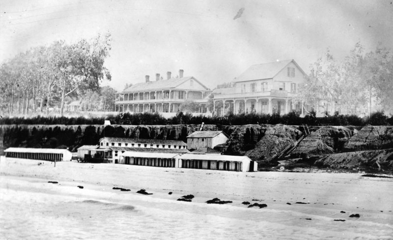 Santa Monica Hotel and Bathhouses, 1887. Source: Los Angeles Public Library Photo Collection