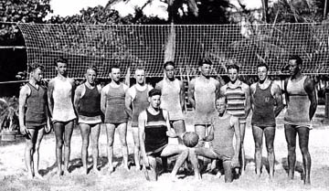 Beach volleyball team at Outrigger Canoe Club, Oahu, c. 1920. Duke Kahanamoku is at the far right. Source: Beach Volleyball Database