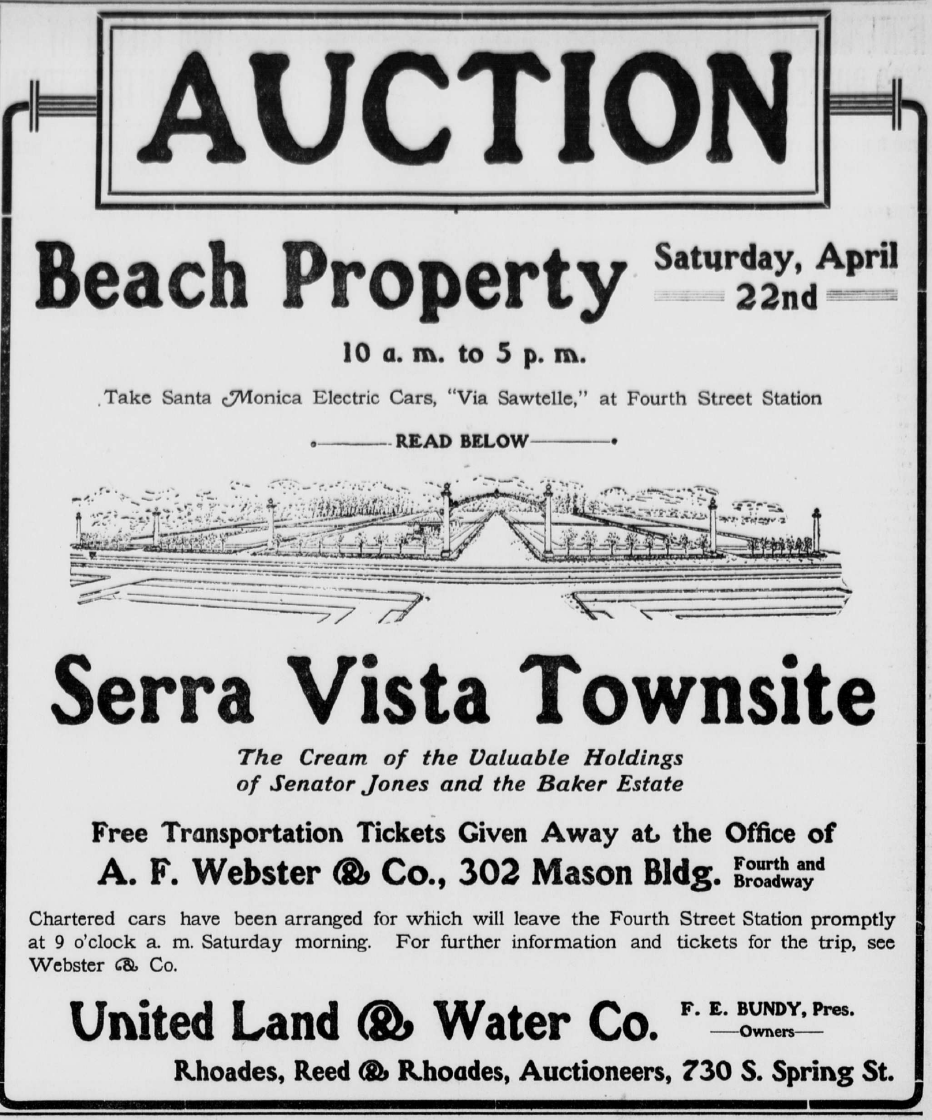 Advertisement for Serra Vista Townsite. Source: Los Angeles Times.
