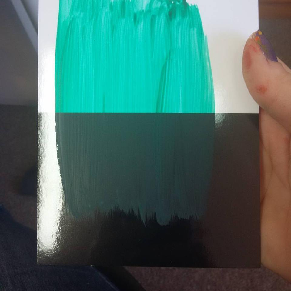 This is one layer of Emerald Green on the test card. I lost track of how many layers it took to get it completely opaque in the end.