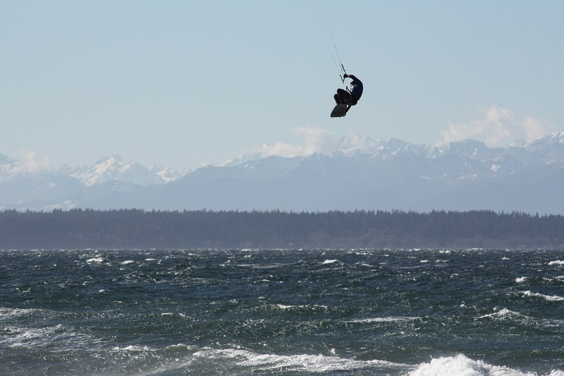 John kiting on (or above, rather) the Puget Sound