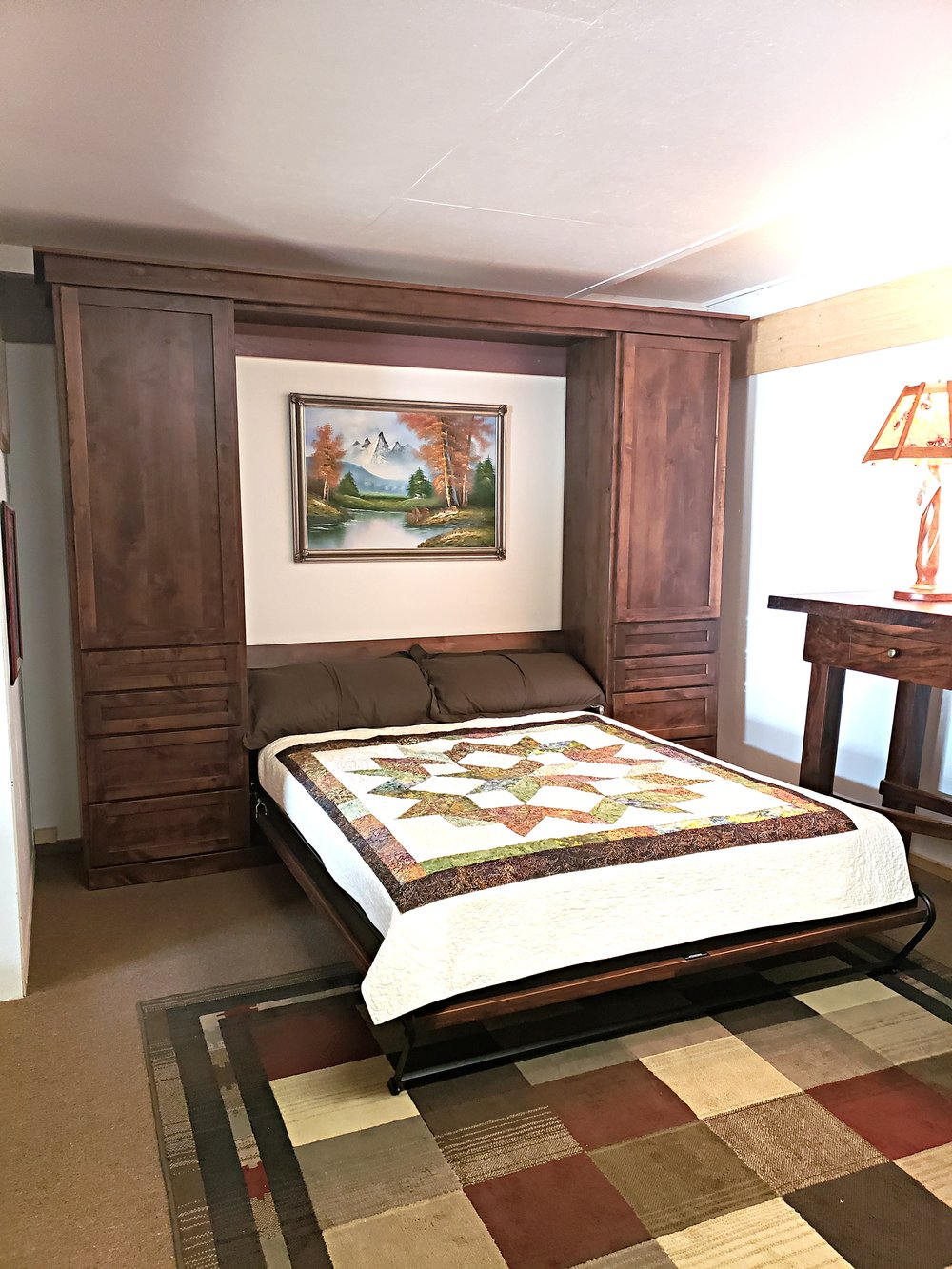 Rustic alder wall bed open .jpg