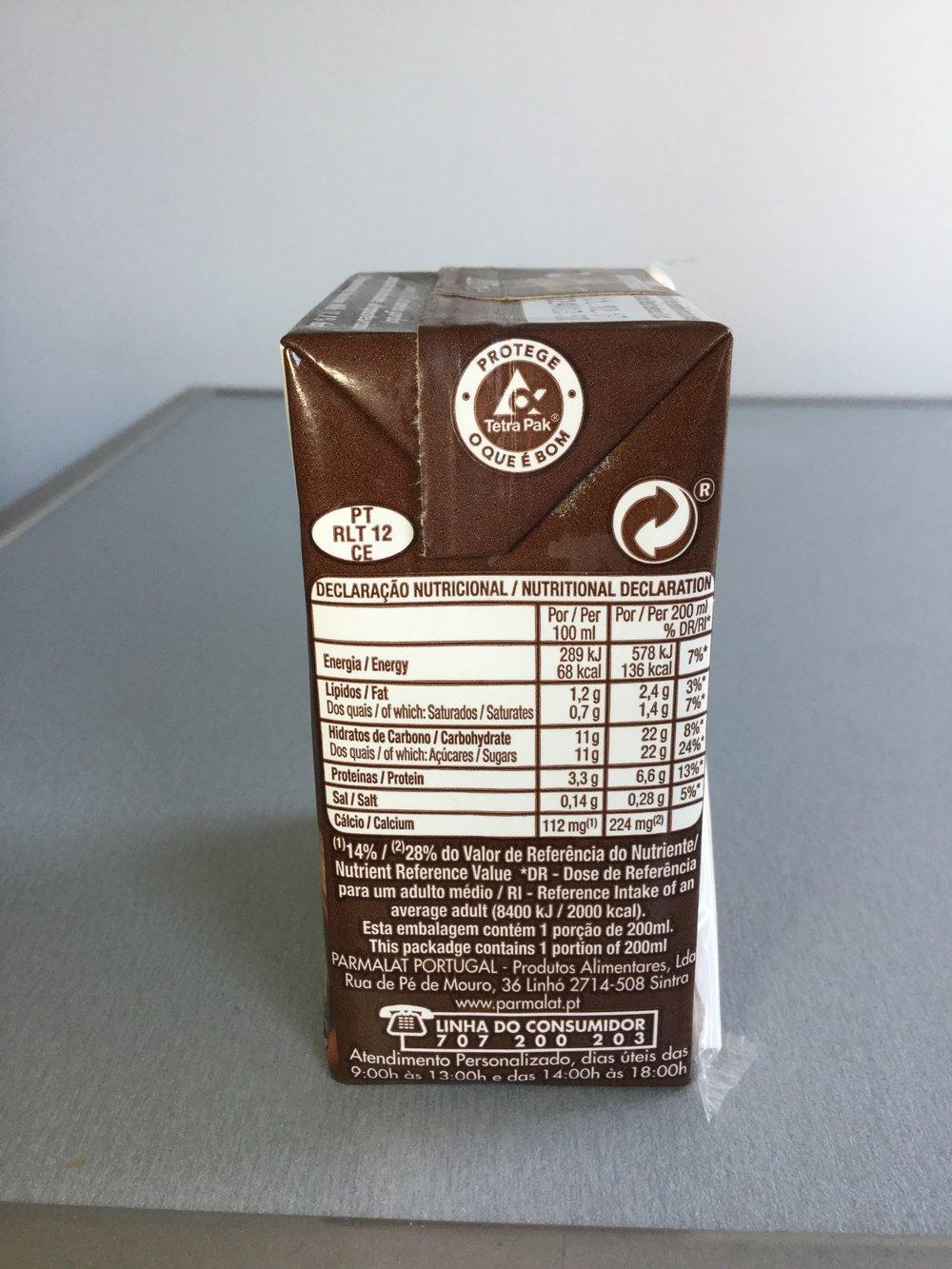 Parmalat Leite Com Chocolate Side 1