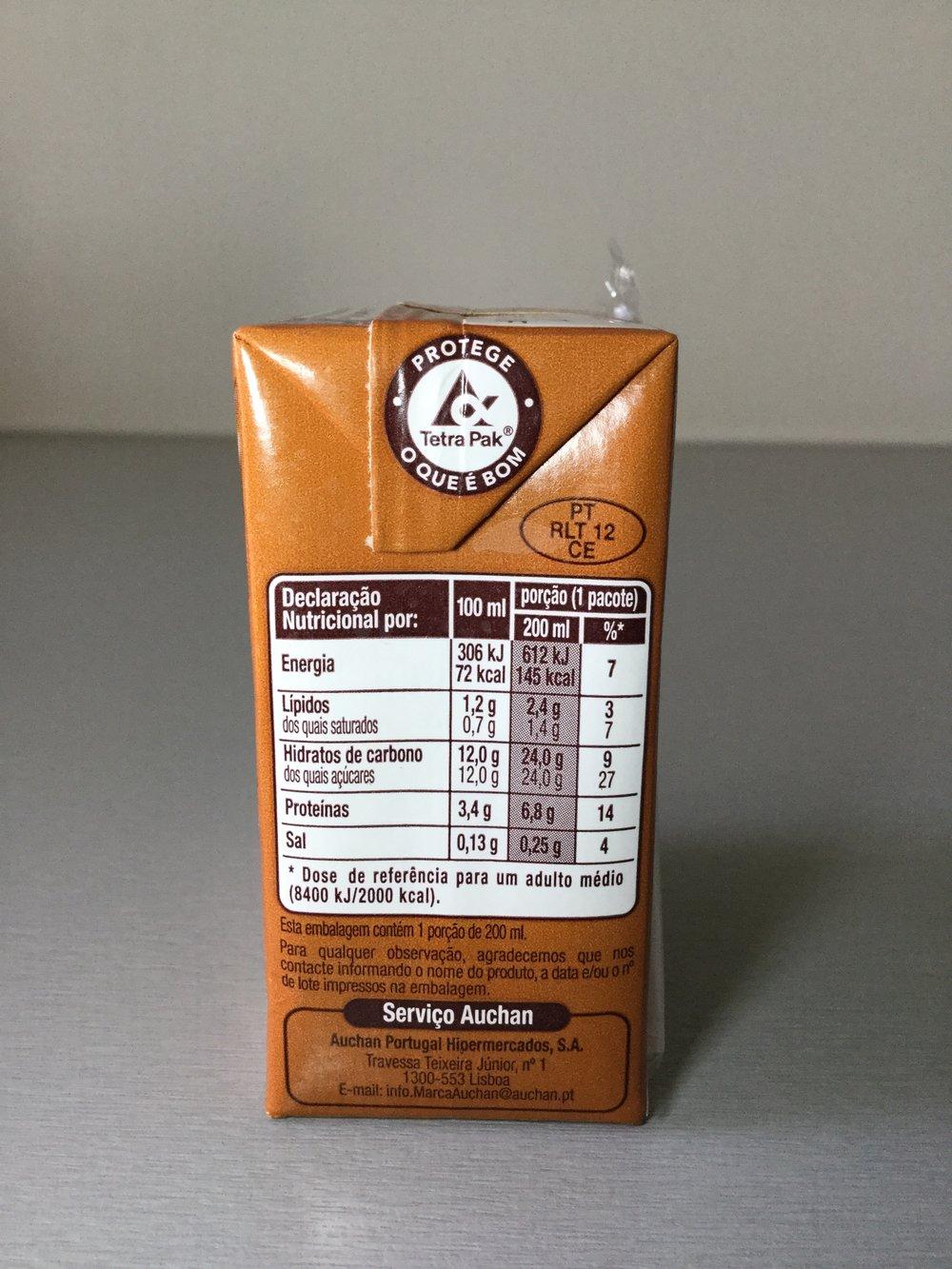Auchan Leite Com Chocolate Side 1