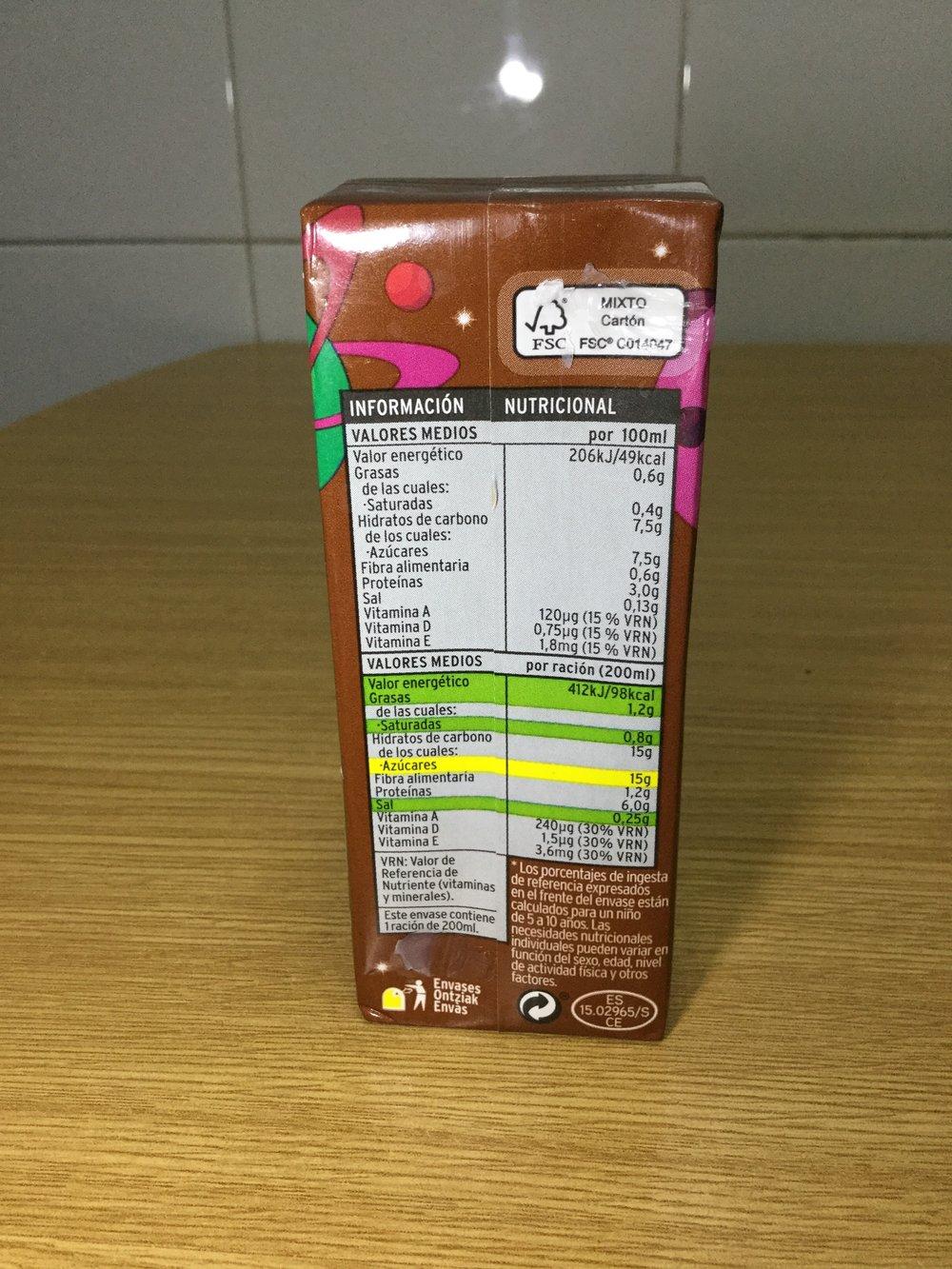 Eroski Batido De Cacao Side 1