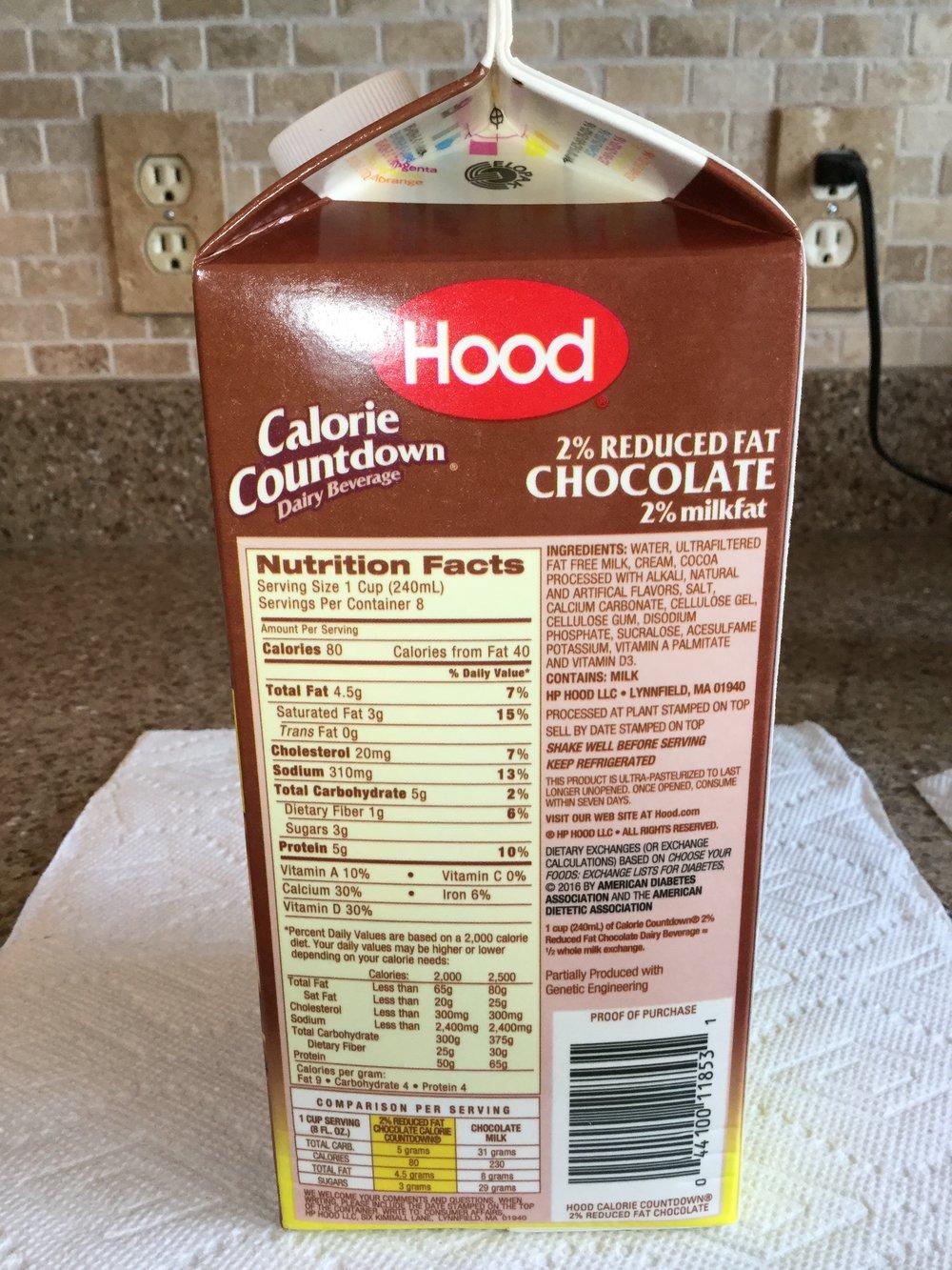 Hood Calorie Countdown 2% Chocolate Dairy Beverage Side 1