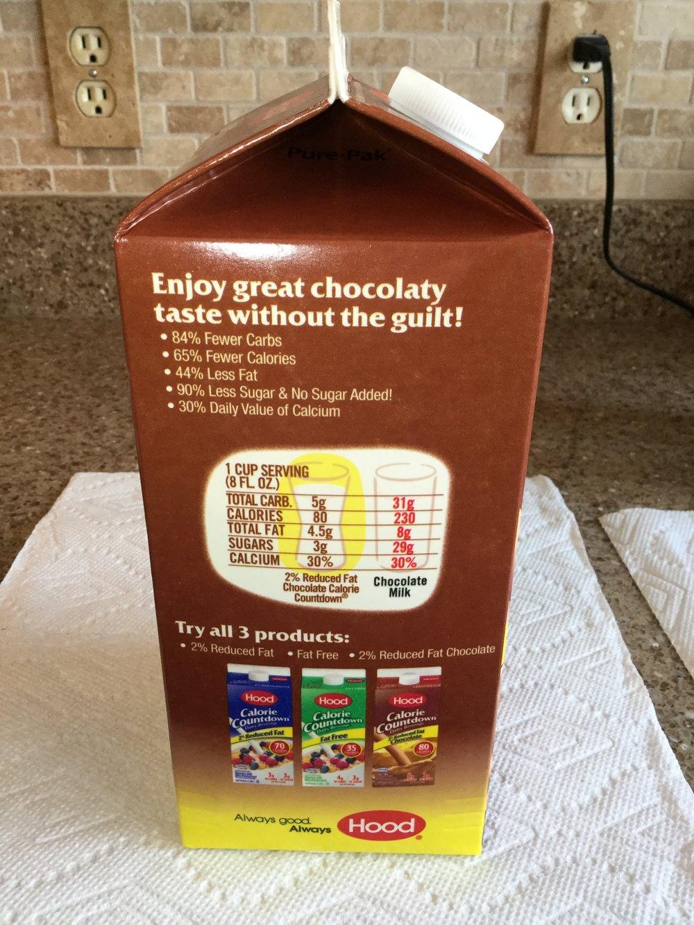 Hood Calorie Countdown 2% Chocolate Dairy Beverage Side 2