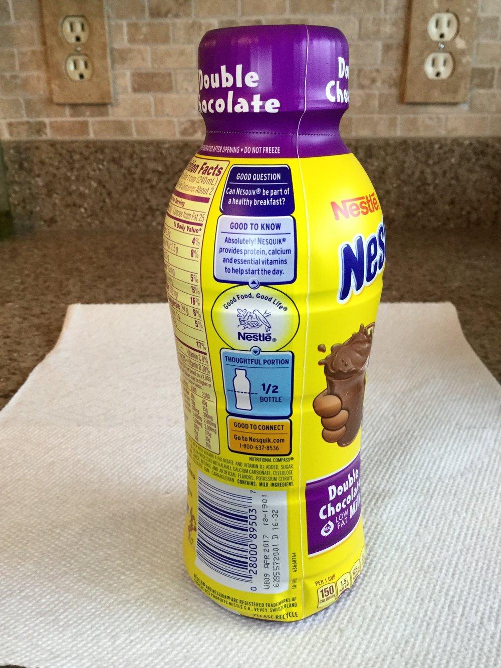 Nestle Nesquik Double Chocolate Low Fat Chocolate Milk Side 2