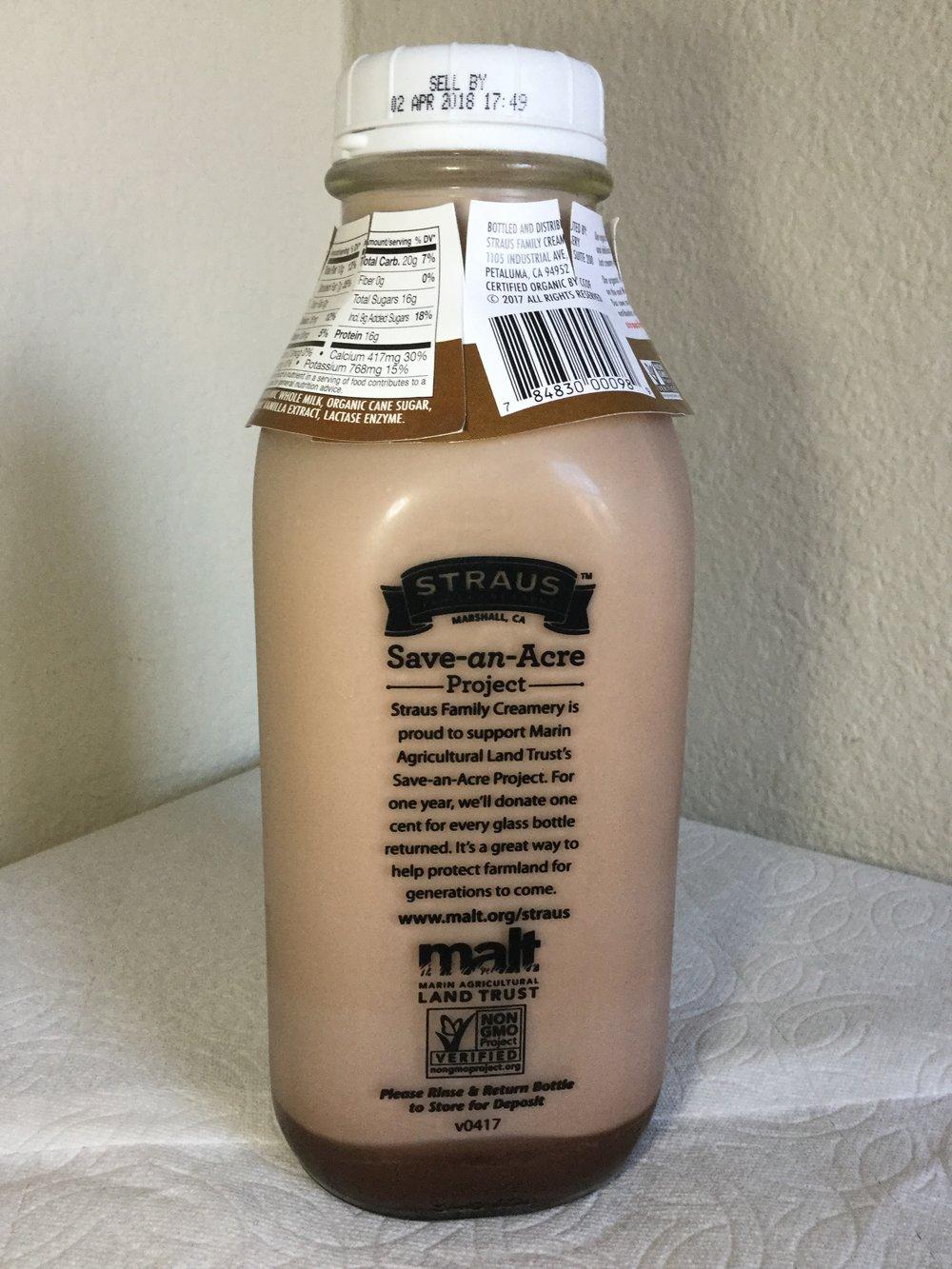 Straus Family Creamery Organic Chocolate Milk Side 2