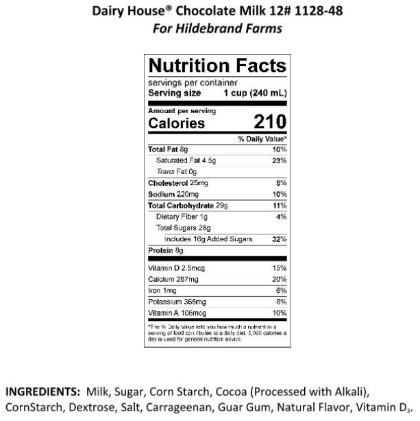 Hildebrand Farms Dairy Chocolate Milk Info