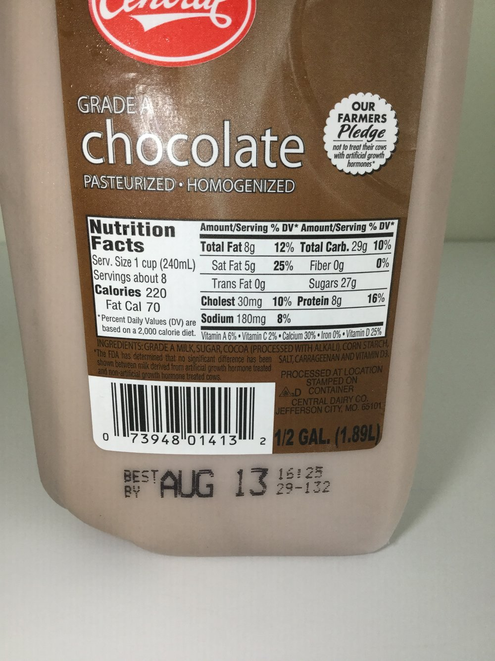 Central Dairy Chocolate Milk Side 1