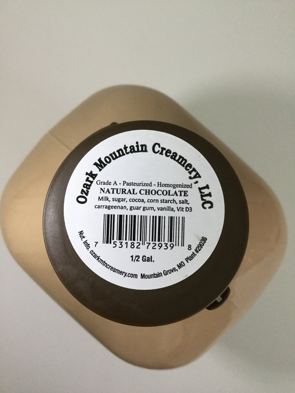 Ozark Mountain Creamery Chocolate Milk Top