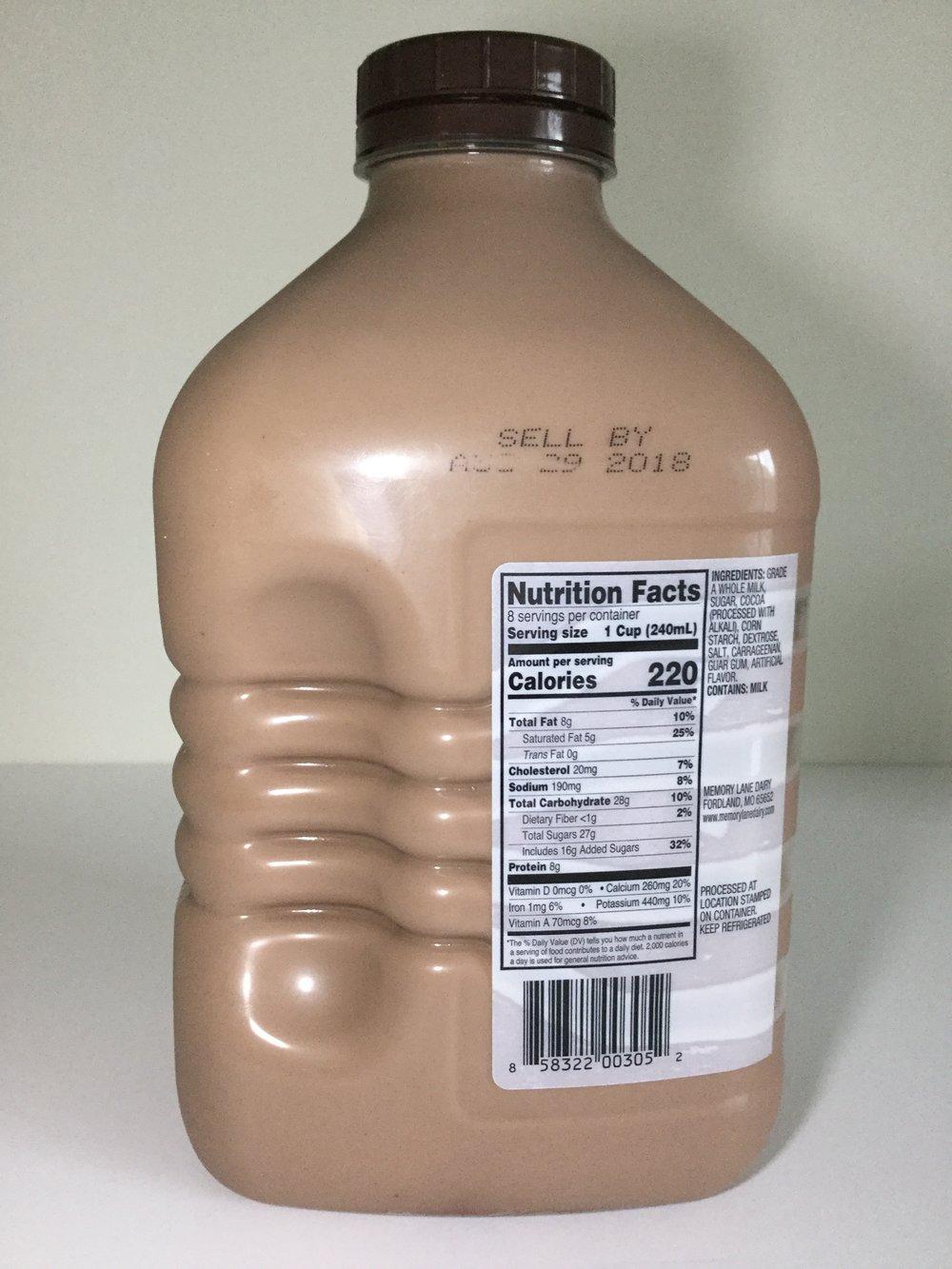 Memory Lane Dairy Chocolate Milk Side 1