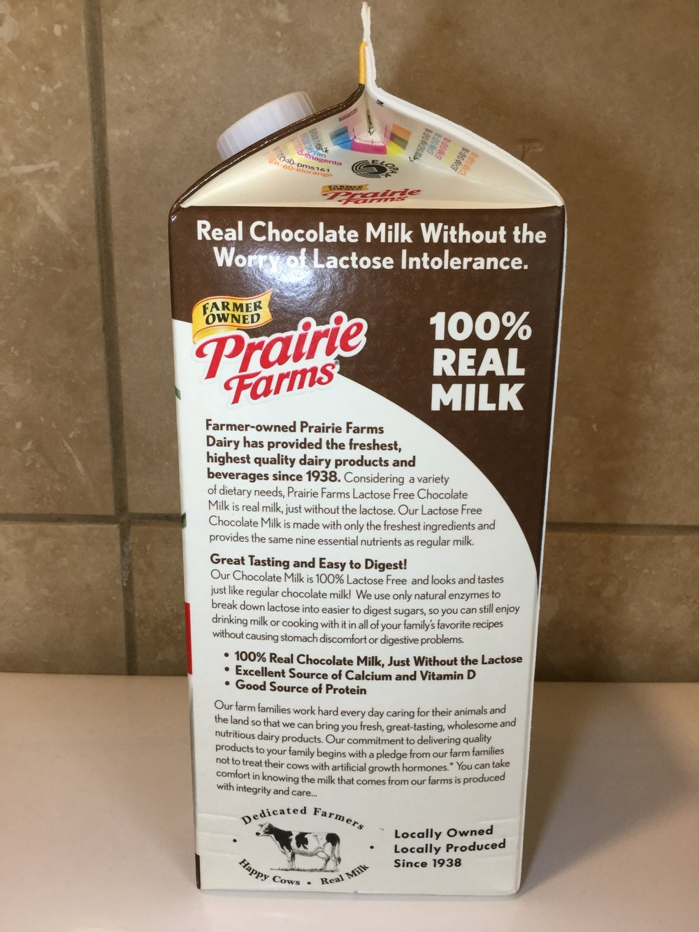Prairie Farms Lactose Free Chocolate Milk Side 2