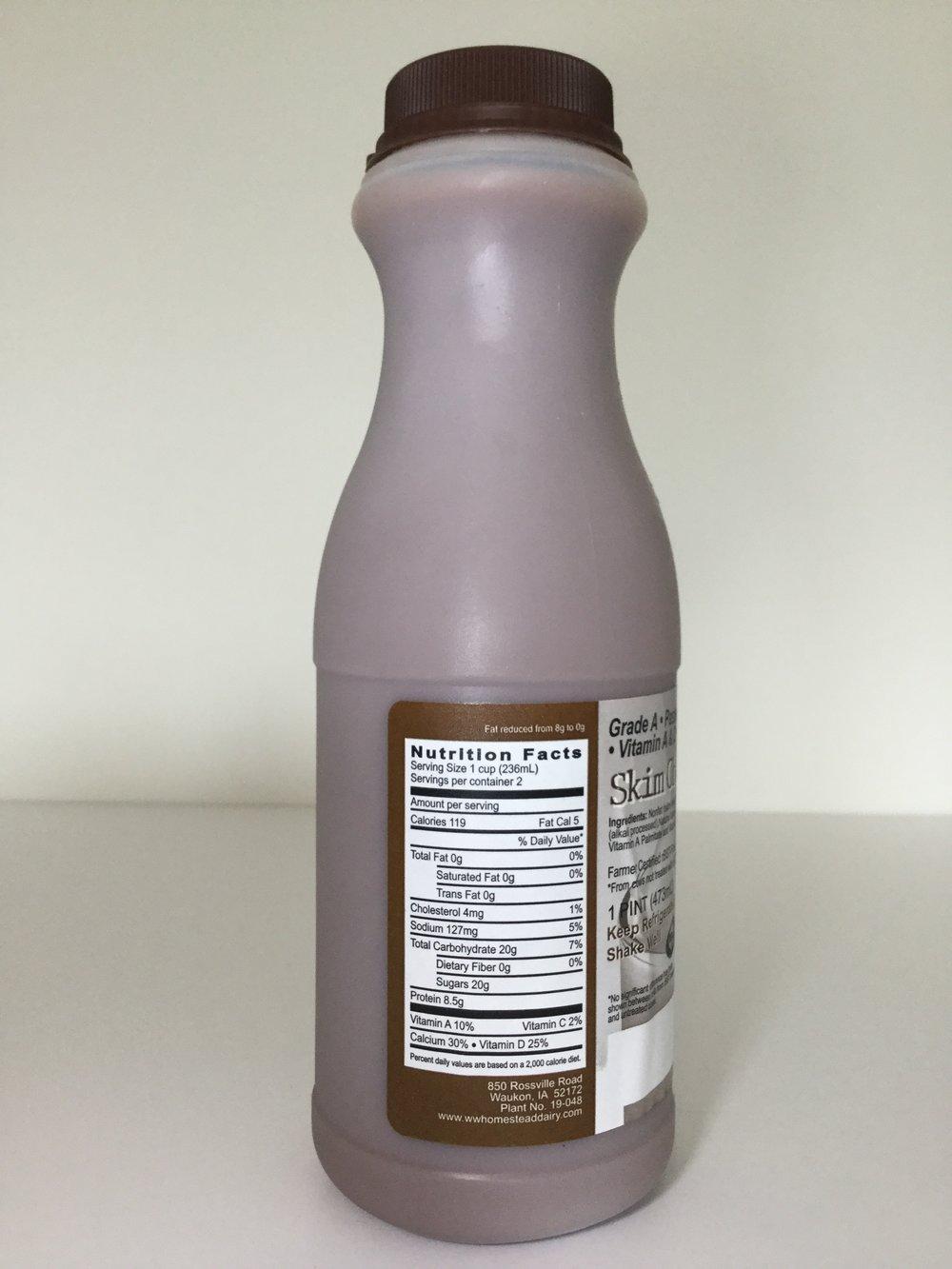 WW Homestead Dairy Chocolate Milk Side 1