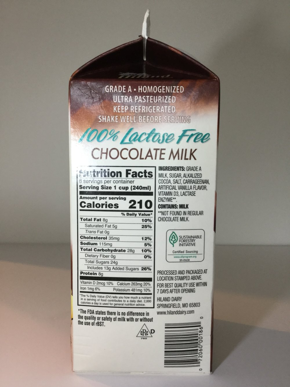 Hiland Lactose Free Chocolate Milk Side 1