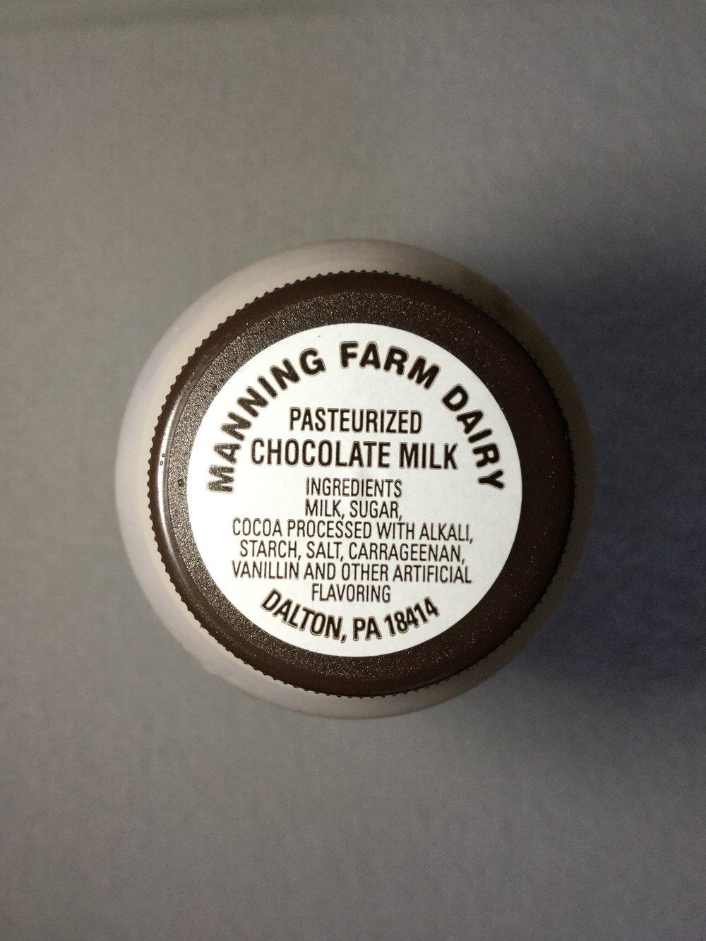Manning Farm Dairy Chocolate Milk Side 1