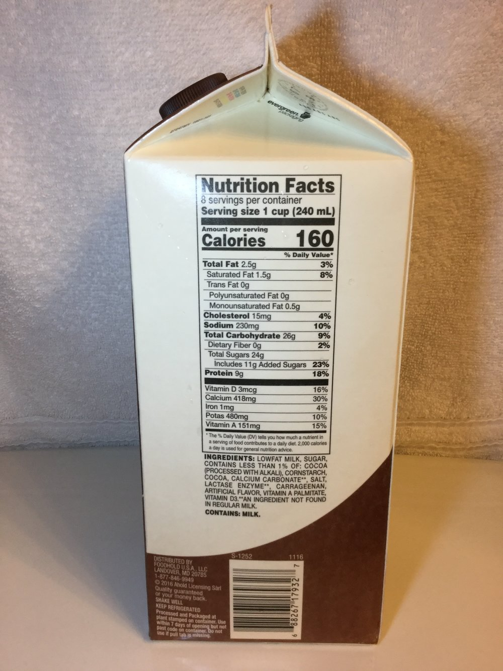 Giant Lactose Free Low Fat Chocolate Milk Side 1