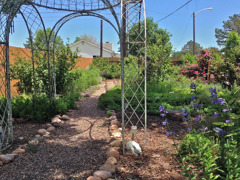 Antique romantic gazebo in back gardens