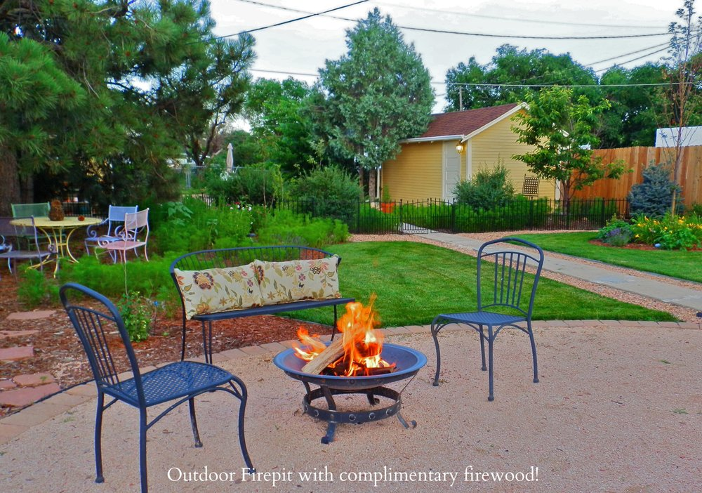Outdoor Fire Pit with complimentary firewood!