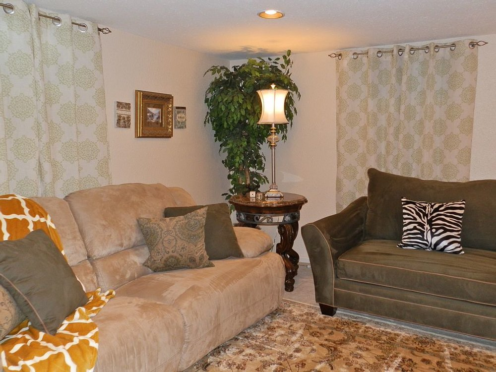 "Cozy basement family room with 52"" TV/DVR/DVD player"