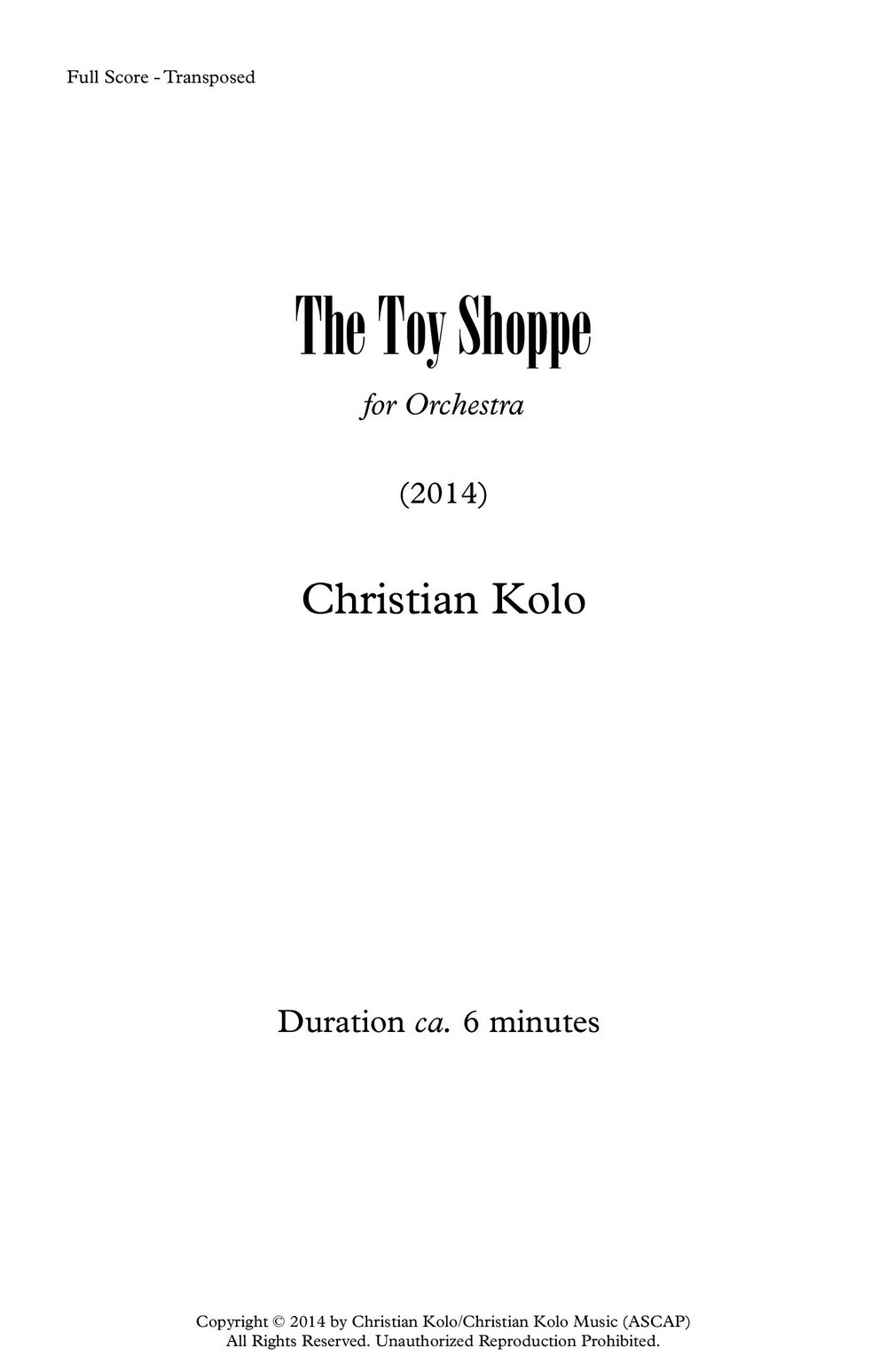 The Toy Shoppe (2014) 6'