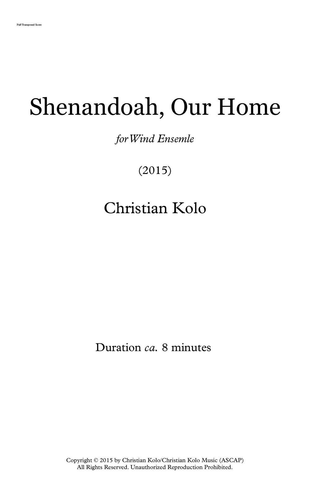 Shenandoah, Our Home (2015) 8'