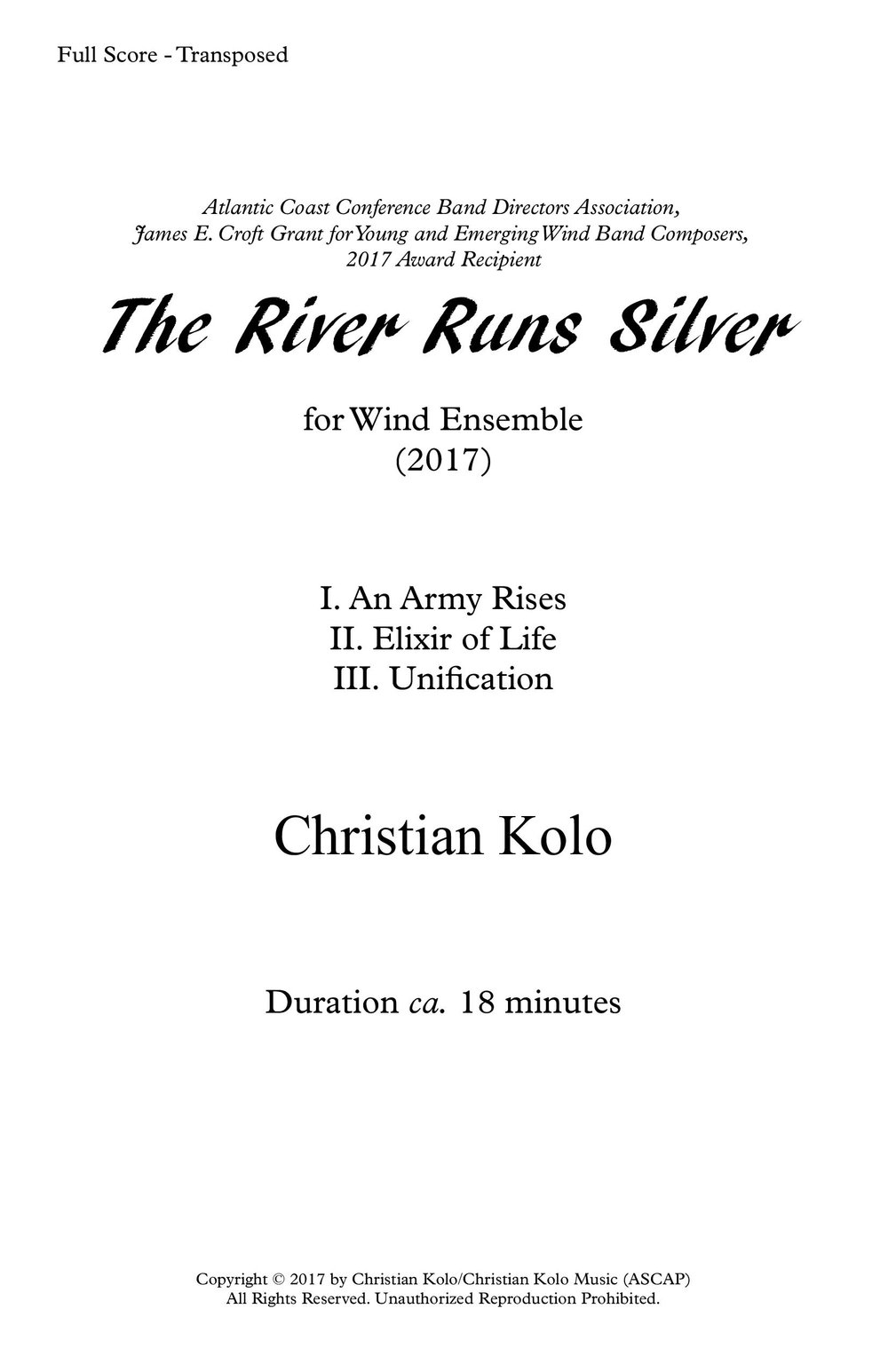 The River Runs Silver (2017) 18'