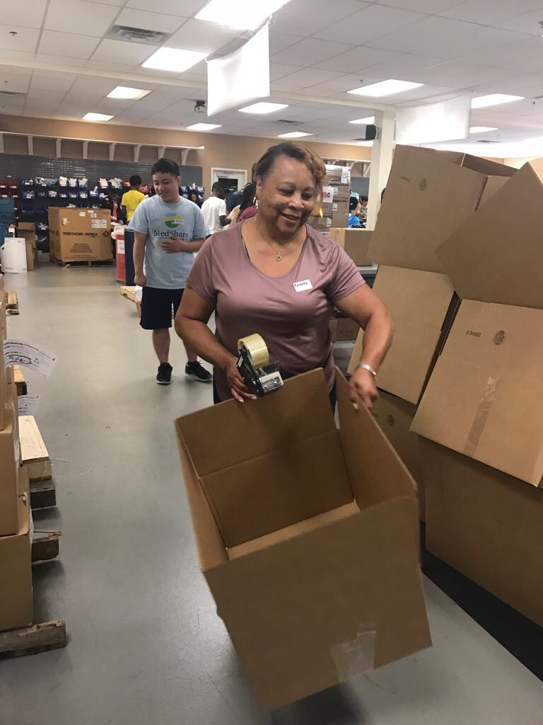 The foreman of our box-assembling crew, Ms. Jones-Turner!