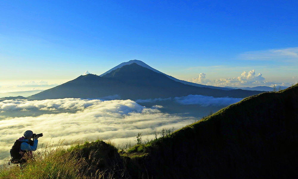 Mount Batur after sunrise.