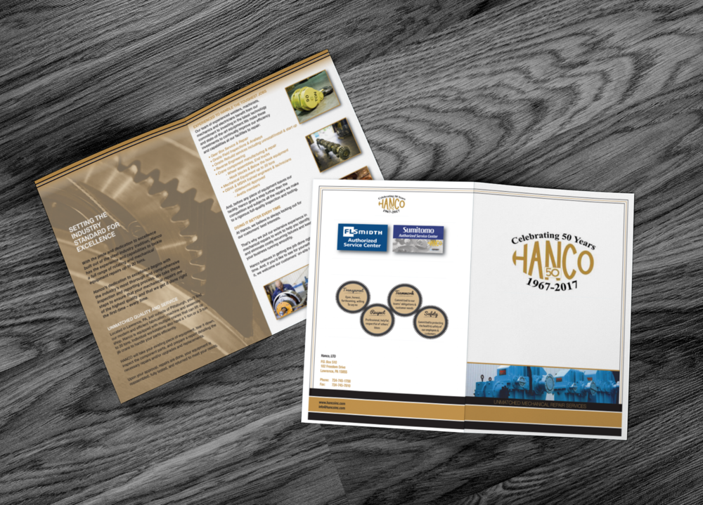 Hanco Brochure Redesign - This brochure was a redesign of the clients existing brochure. The Client wanted a new layout, color scheme & wanted their 50th anniversary incorporated into the design. We matched the colors to their logo & created the gear layout on the back for the company's core values. The design was done in Adobe Illustrator CC and the images were edited in Adobe Photoshop CC.