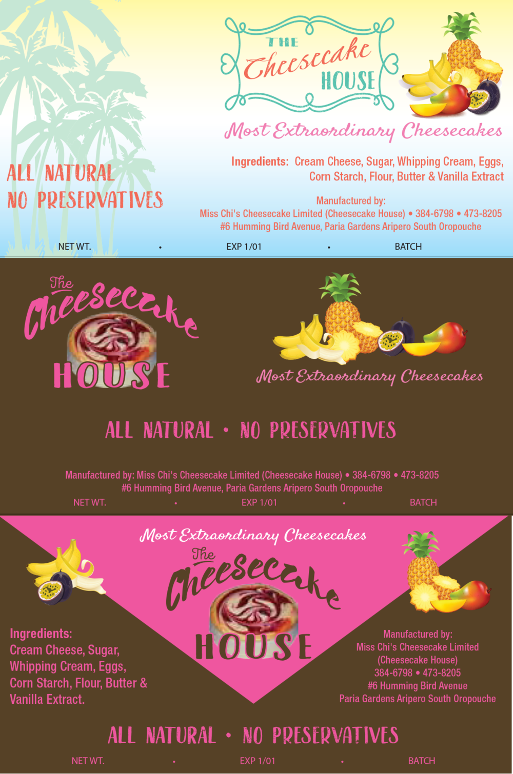 Cheesecake House Labels - This project was for retail cheesecakes labels. The client was very flexible with designs. They didn't really have a logo so I designed a couple different options to go with the labels. The labels were done to have a Caribbean feel to them. They were designed using Adobe Illustrator CC and are completely vectorized.