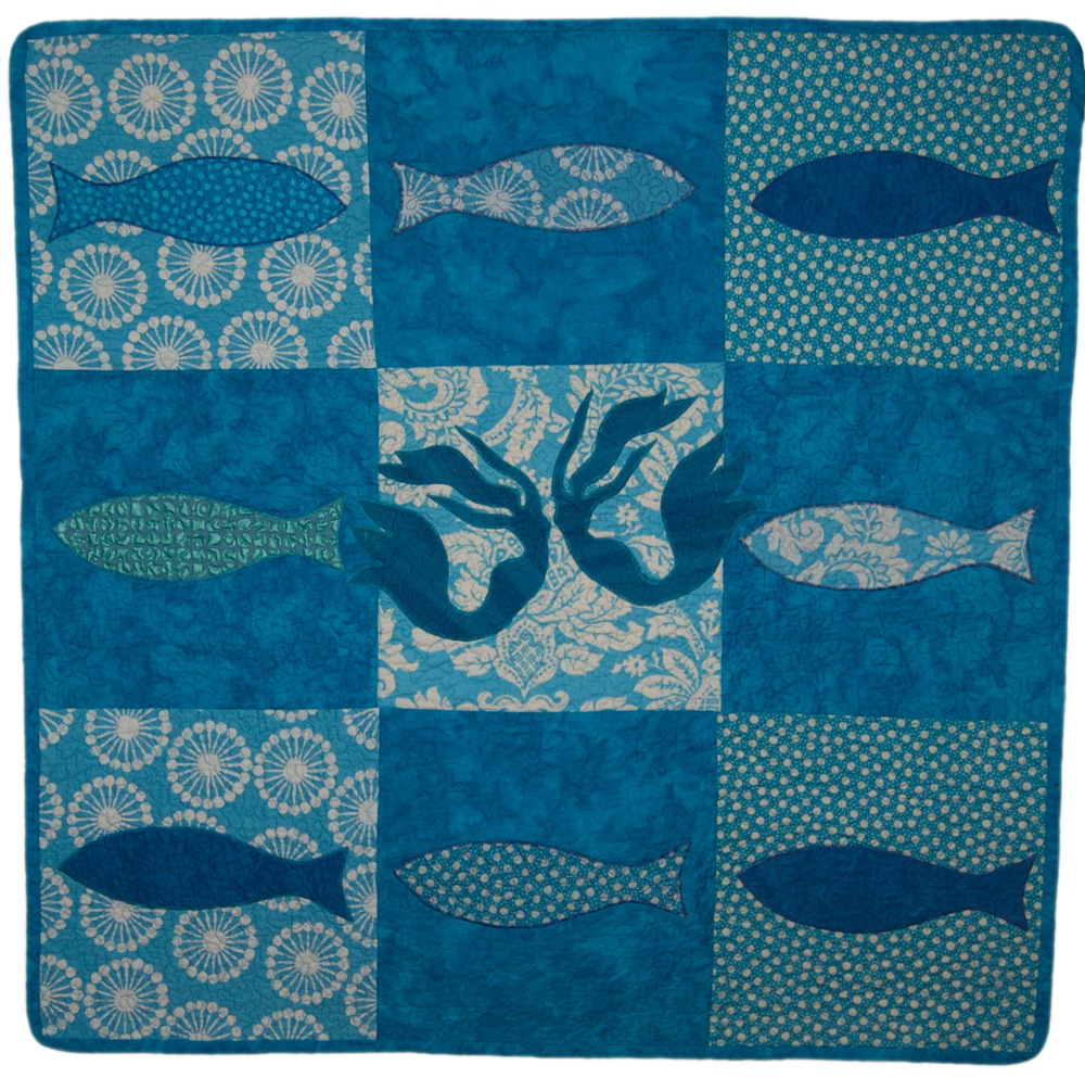 mermaids & fish baby quilt