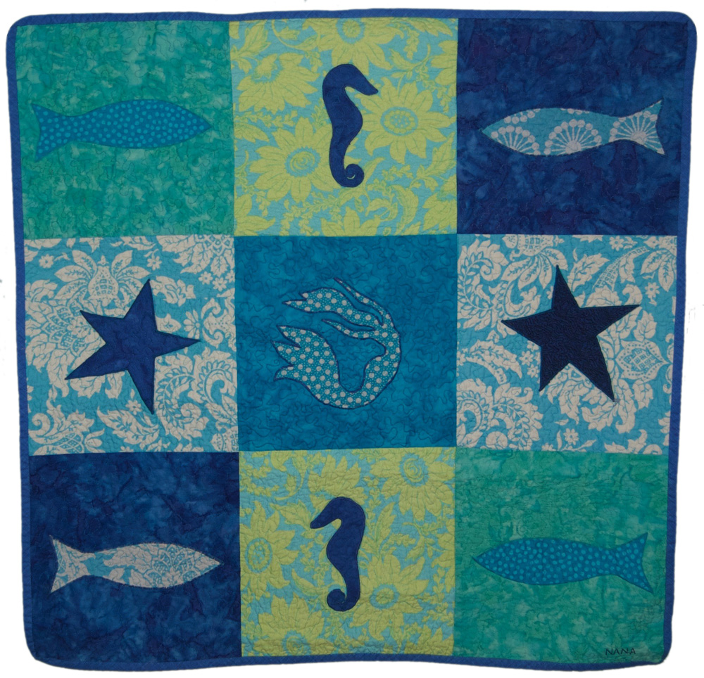 seahorse baby quilt