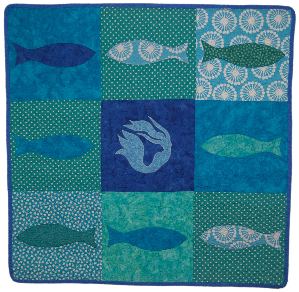 mermaid & fish baby quilt